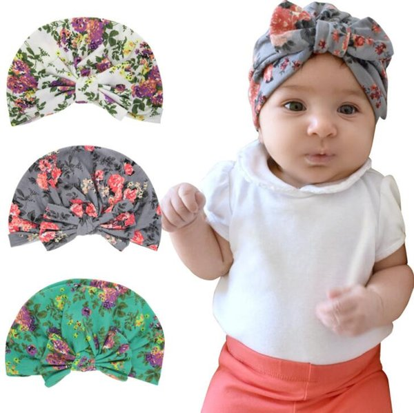 Floral Baby Girls Hats bowknot Baby Girls Caps Children's Spring Autumn Hats For Girls Kids clothes Accessories