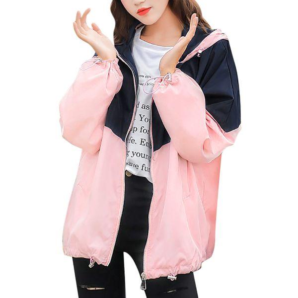 Kadınlar Uzun Kollu Patchwork Kapüşonlu Ceket ile Fermuar Cepler Casual bayan bayanlar Kazak Sportwear Palto chaqueta feminino