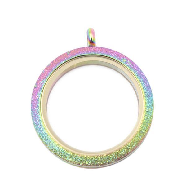 Arco-íris brilho parafuso medalhão flutuante de aço inoxidável flutuante encantos medalhões de memória para as mulheres jóias