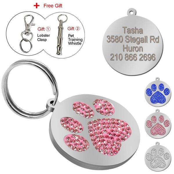 Glitter Paw Pet ID Tags Personnalisé Personnalisé Gravé Nom Numéro de Téléphone Tag pour Chien Chat Collier Collier Accessoires Avec Cadeau Gratuit