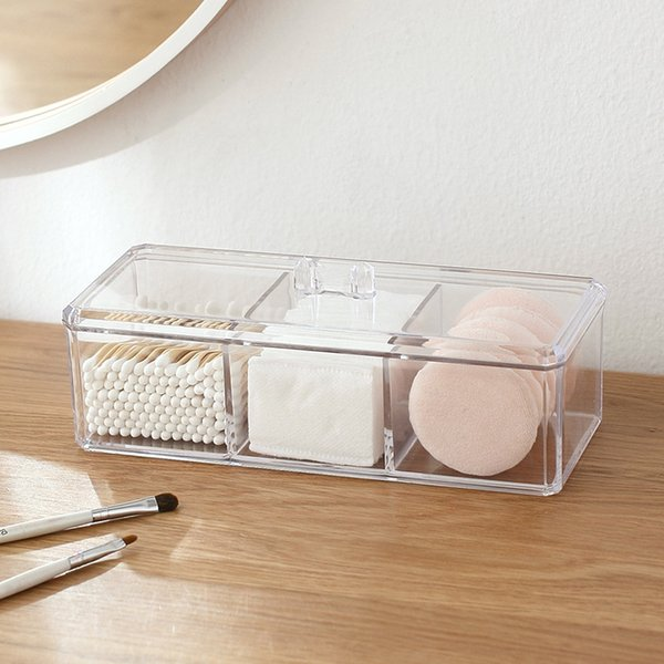 3 Tiers Transparent Acrylic 3 Compartments Makeup Storage Cotton Swab Organizer Box Cosmetic with Lid Jewelry Storage Case