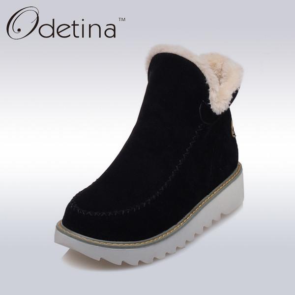 2019 Odetina 2018 Warm Plush Platform Ankle Snow Boots Flat Women Winter Shoes Non-slip Large Size Black Suede Ladies Slip On Boots