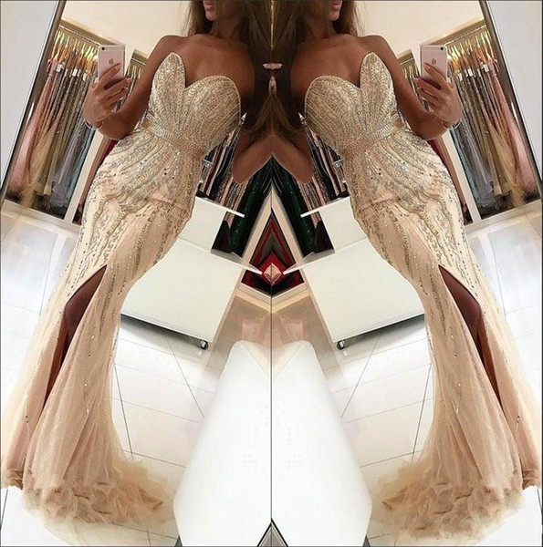 2019 New Sexy Prom Dresses Sweetheart Champagne Mermaid Tulle Crystal Beaded Long Split Plus Size Custom Party Dress Formal Evening Gowns