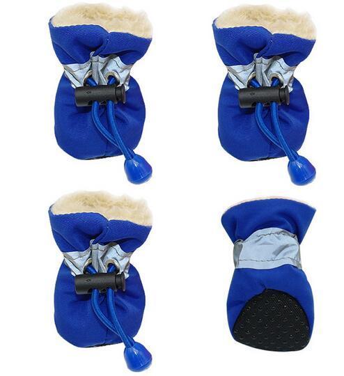 4 adet Su Geçirmez Kış Pet Köpek Ayakkabı kaymaz Yağmur Kar botları Ayakkabı Kalın Sıcak Küçük Kediler Köpekler Yavru Köpek Çorap Için Sıcak patik