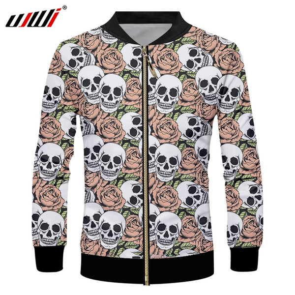 UJWI Red Rose Men's Zip Jacket 3D Printed A Pile Of Skulls Medium And Long Section Large Size Leisure Man Clothing