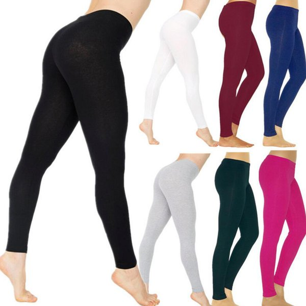 best selling New Womens Casual Leggings Elastic Cotton Leggings Female Pants Women Clothing Black Gray White Solid Color Trousers