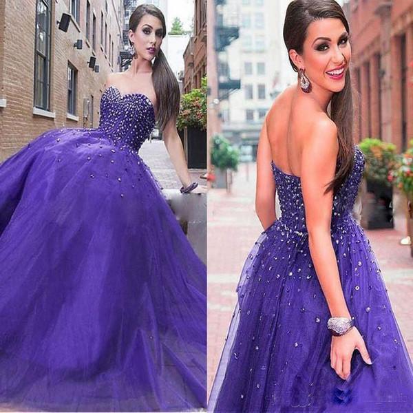 Zarif 2019 Boncuklu Mor Sevgiliye Boyun Uzun Gelinlik Modelleri Lace up Geri Uzun Abiye Tül Güzel Kızlar Pageant Giyer