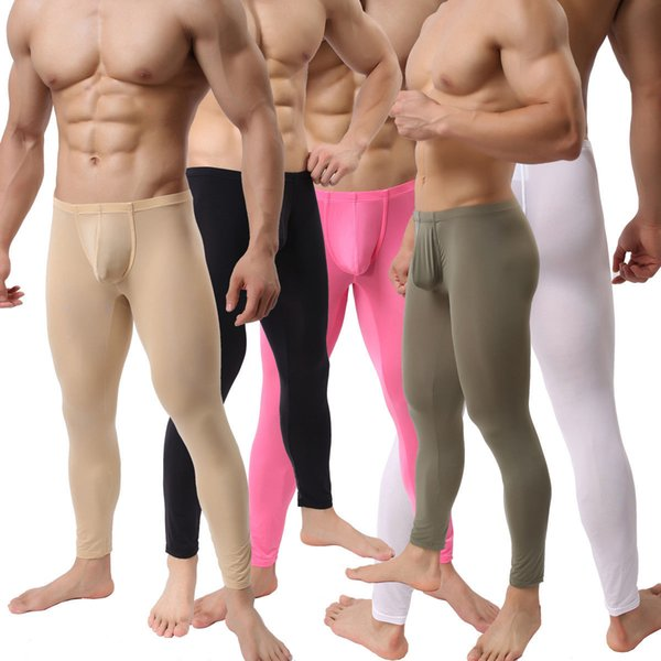 top popular Sexy Mens Slim Tight Long Johns Pants Smooth Stretchy Underwear Trousers Multi Color Gym Sports Long Pants 2019