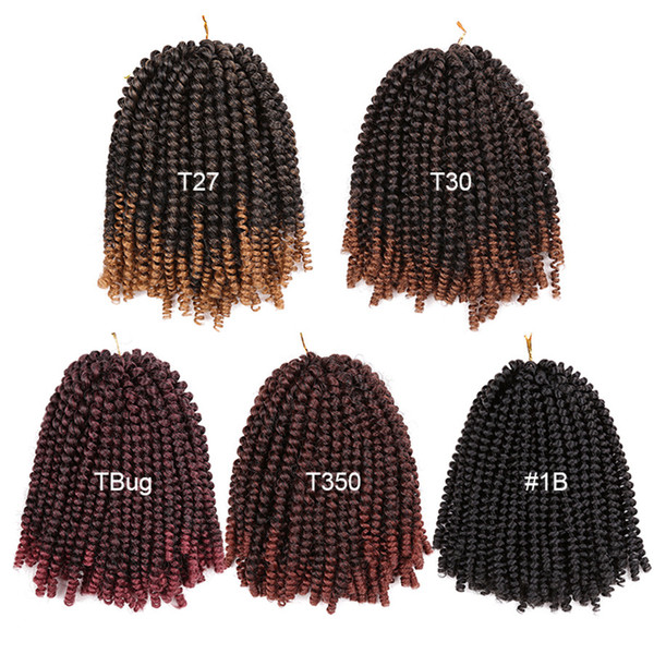 best selling 8 inch Crochet Braids Ombre Spring Twist Hair Kanekalon Synthetic Hair Extensions Braids 110g pack for women
