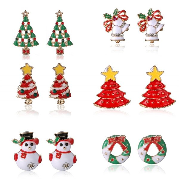 Retro Lovely Christmas Tree Ear Studs Earrings Snowman Small Bell Fashion Alloy Ear Nail Christmas Gift Festival Party Supplies 2 8yh gg