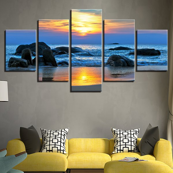 Framework 5 Pieces Sunrise Beach Wave Lashed Against The Rocks Seascape Canvas HD Prints Pictures Paintings Home Wall Art Decor