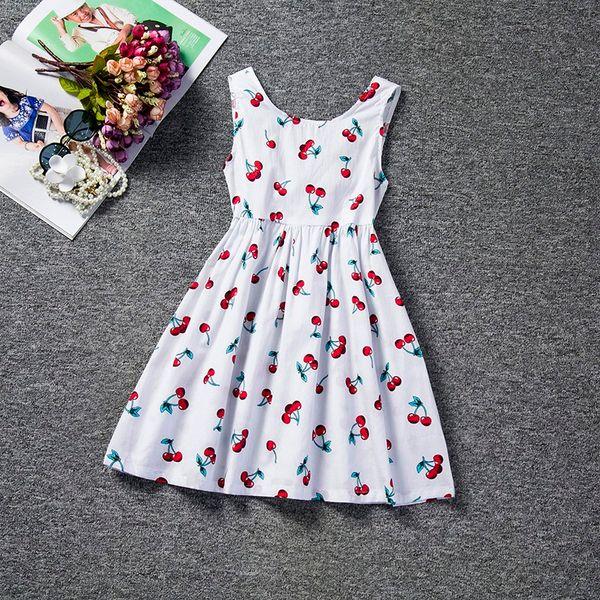 2018 Trendy Toddler Baby Girls Dress Summer Girl Clothes Floral Printed Back V Dress Girls Kids Vest Halter Dress Infant Party Wear Casual