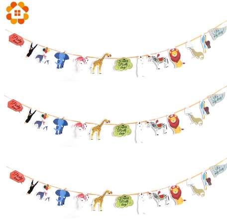 New! 1Set Happy Birthday Paper Flag Animal Party Bell Garland Banner Bunting Decoration For Kids Birthdays Party Supplies