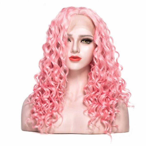 Natural Hairline Long Curly Pink Color Synthetic Lace Front Wig 180% Density Glueless Heat Resistant Cosplay Party Wigs For Women Drag Queen