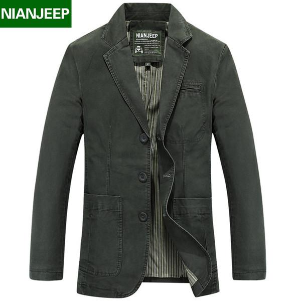 NIAN Marque Vêtements Plus Size 3XL Coton Slim Fit Veste et Manteau pour les hommes Vêtements Printemps 106