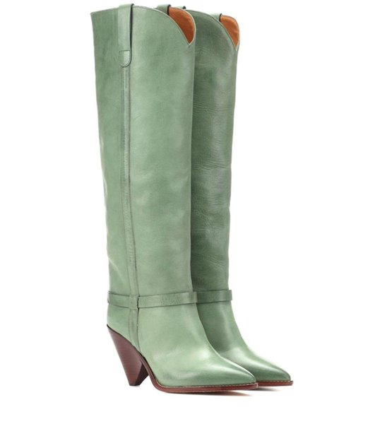 Winter Shoes Woman Knee Boots Pointed Toe High 10cm Spike Heels Ethnic Slip On Western Boots Light Green Zapatos Mujer