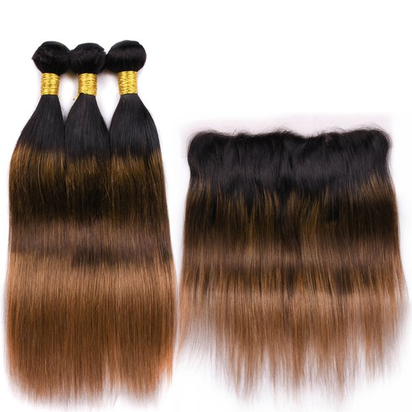Ombre Brown 1B 4 30 Ombre Frontal Closure With Hair Weaves Silky Straight Human Hair Weft With Full Lace Frontals