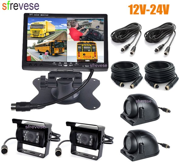"""4x 4Pin IR Car Front Side Rear View Reversing Backup Parking Camera+ 7"""" LCD 1/2/3/4CH Quad Split Monitor for Bus Truck Motorhome"""