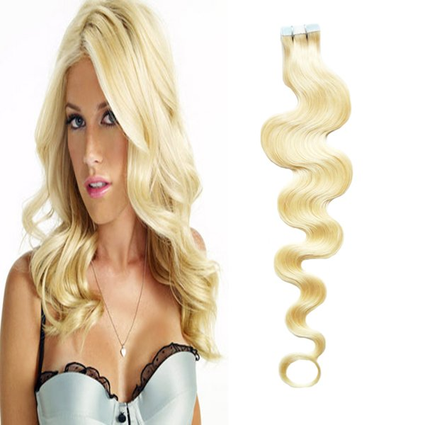 Brazilian Body Wave Hair Skin Weft Tape Hair Extensions 100g(40pcs) 613 Bleach Blonde Use of human hair Tape Extension