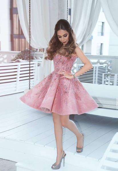 Compre Mini Vestidos De Cóctel Cortos Con Cuentas Rosadas 2019 Cuello Alto Hasta La Rodilla Vestidos De Fiesta Cortos Vestido Formal Personalizado
