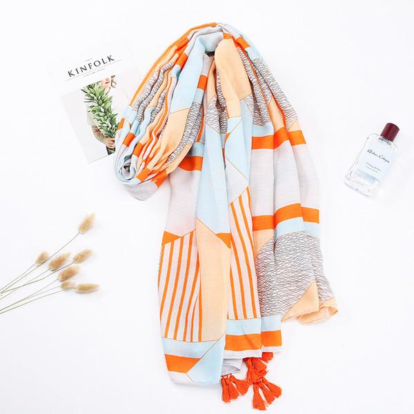 Cotton and hemp scarf female literature and art ethnic romance long subian scarf orange series beach sun protection towel thin