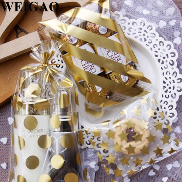 wholesale 100Pcs Gold Candy Bags Polka Dot Christmas Bags For Xmas Party Cookies Biscut Wrap Package Plastic Bag Birthday Gift Box