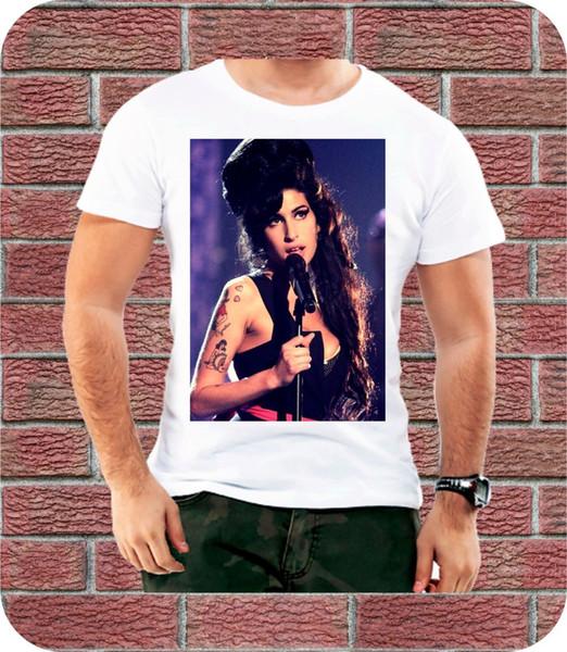 Amy Winehouse Resim Erkekler T gömlek Doğum Günü Hediyesi Trendy Moda Hediye Müzik 3XL Hip Hop erkekler tshirt kaya Unisex t shirt Moda Tops