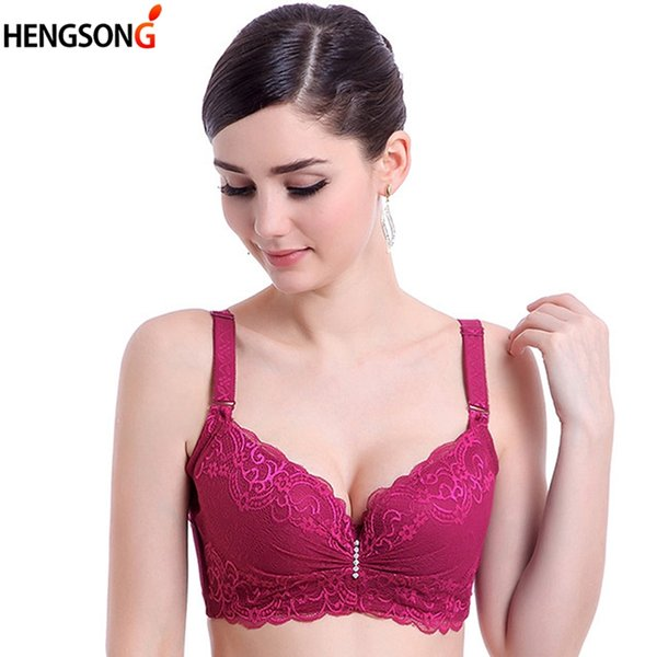 Elegante ropa interior para mujer más el tamaño ajustable de recolección lateral 3/4 media taza de acero esponja push up bra c cup e sujetadores de encaje fino