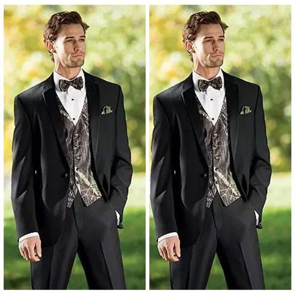 Real Tree Camouflage Men Tuxedos Unique Camo Black Wedding Suits ...
