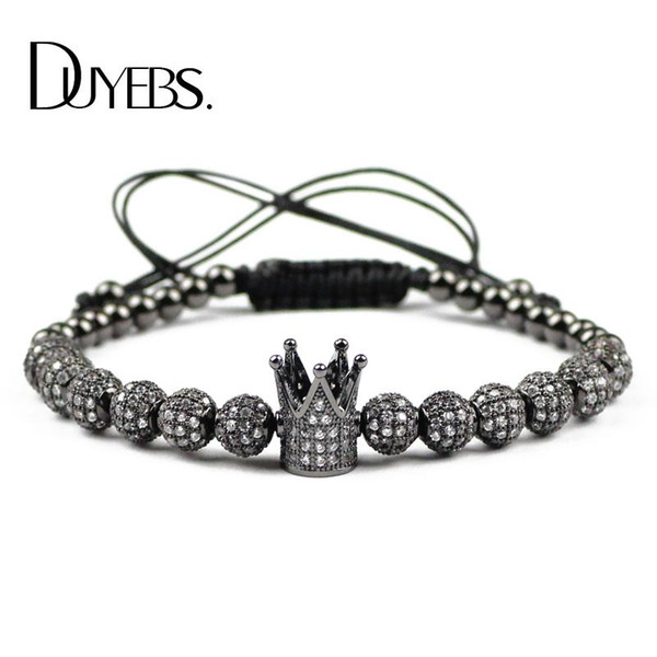 DUYEBS Crown Charms Bracelet Men 6mm Copper Beads Zircon CZ Ball Braided Rope Women Bangle Fashion Jewelry Pulseira Masculina