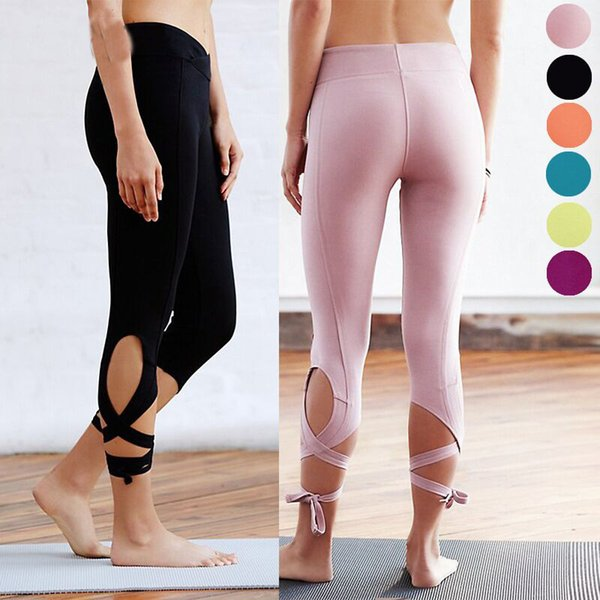 High Waist Women Sporting Leggings Sexy Bandage Mid Calf Leggins Fitnes Gymnastics Active Pants 6 Candy Color Solid Jeggings S18101506