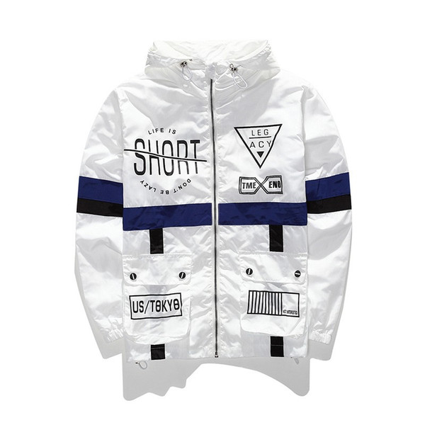 Fall Hot Jacket Casual Sun Protection Lover Sports Wear Letter Printed Clothing Windbreaker Hooded Zipper Couple Coats S-2XL Size