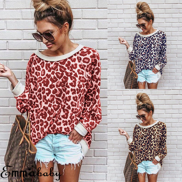 Women Long Sleeve Leopard Print T-Shirt Ladies Casual Tops Jumpers Pullover Autumn Casual Women Top T-shirt