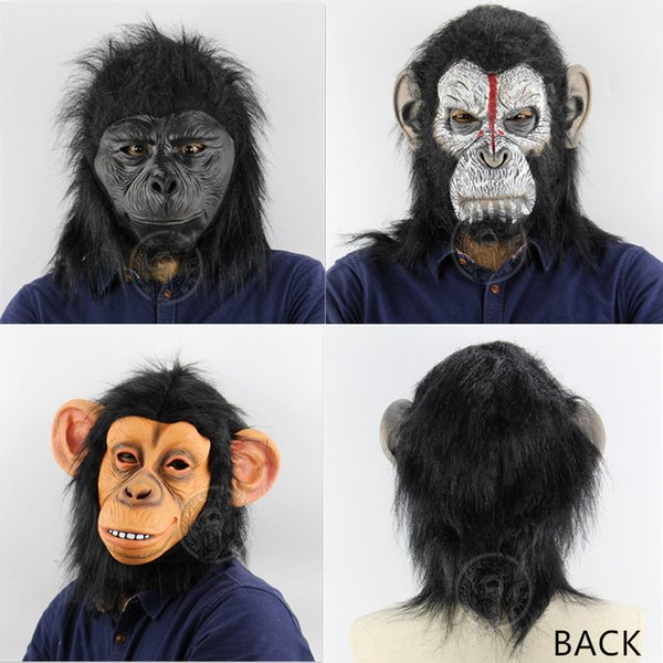 Gorilla Animal Latex Mask Horror Adult Full Face Breathable Halloween Masquerade Costume Cosplay Monkey Apes Head Mask For Party