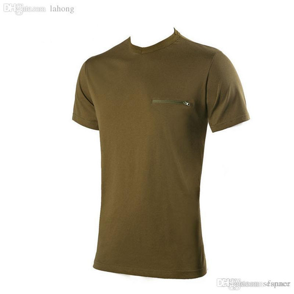 Wholesale-High quality summer camping hiking t shirt men solid short sleeve cotton breathable sport tops with pockets outdoor clothes