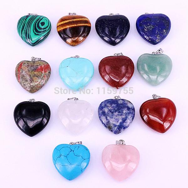 10Pcs Natural Gem Stone Love Heart Pendant for Lover Pink Quartz Lapis Lazuli White Crystal Jewellery Charm Pendants