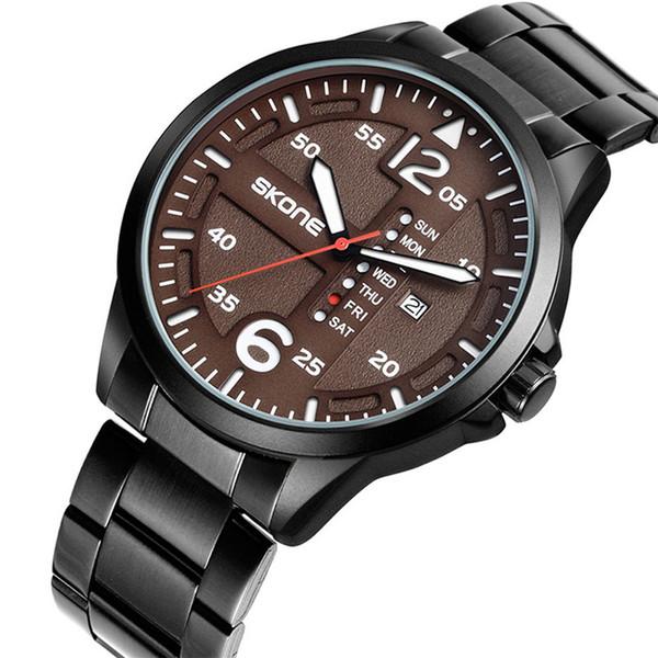 İş Erkek Kuvars Saatı Erkekler Hafta Tarihi Ekran Adam Saatler Basit Tasarım Paslanmaz Çelik Kayış Saat Saat Erkek Hediye