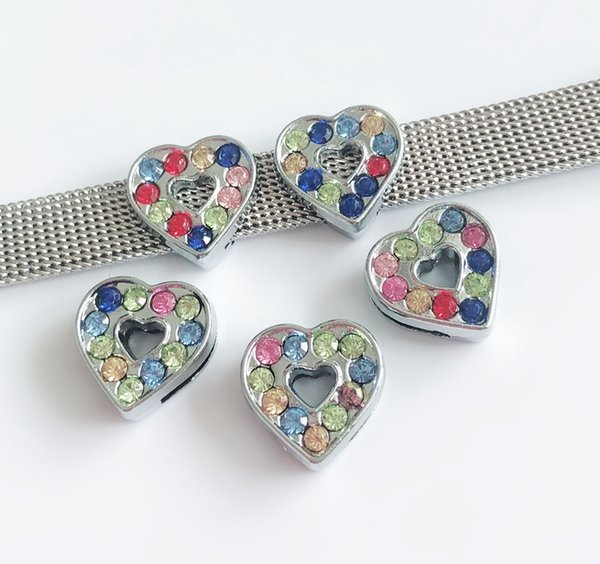 10pcs 8MM Colorful Rhinestone Heart Slide Charms Beads DIY Accessories Fit 8mm Pet Collar Belts Bracelets Tags