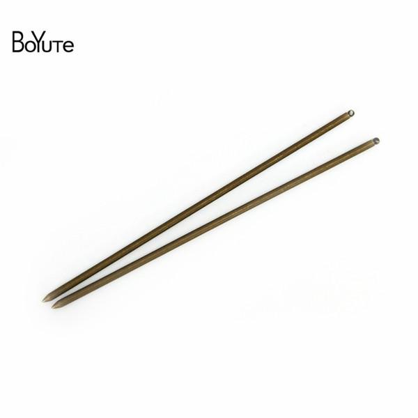 BoYuTe 10 piezas 3 * 130 mm de metal del pelo del palillo con un lazo de 7 colores plateado material de joyería del pelo