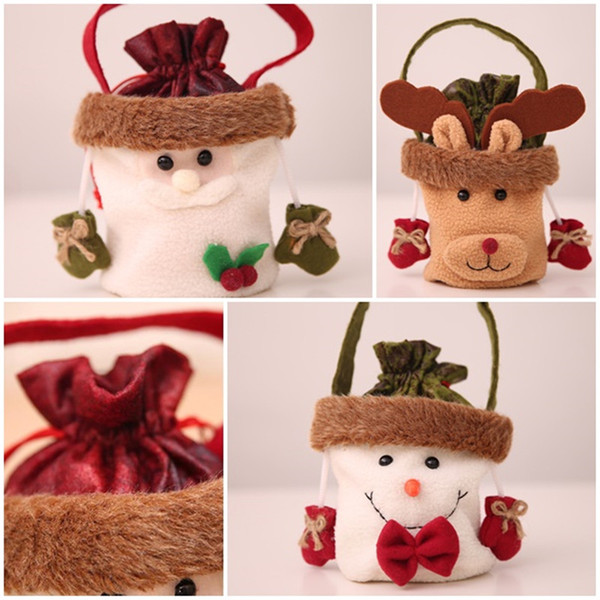 New Christmas Eve Candy Apple Gift Bags Santa Claus Snowman Elk Handbag Christmas Tree Hanging Ornaments for Home Decoration