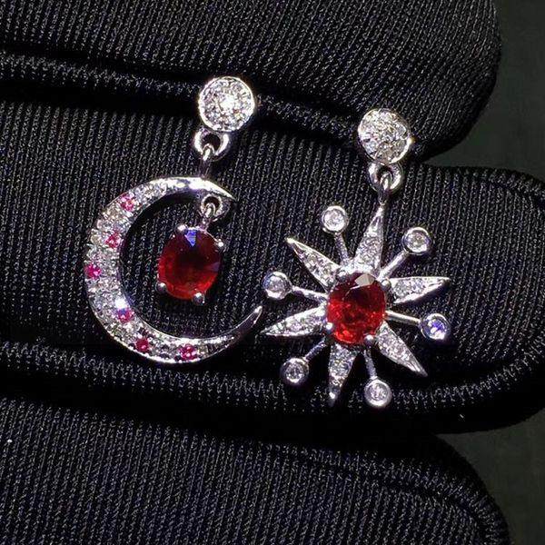 Рубин серьги бесплатная доставка реальный натуральный рубин 925 стерлингового серебра 0.6 ct * 2 шт драгоценный камень ювелирные изделия Звезда Луна стиль #18110522