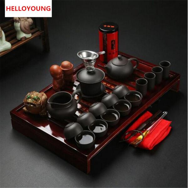 Kung Fu thé en céramique chinois Set Drinkware Violet Clay Crackle Glaze tasse de thé trois options comprennent Teapot Infuser Teatray Préférences