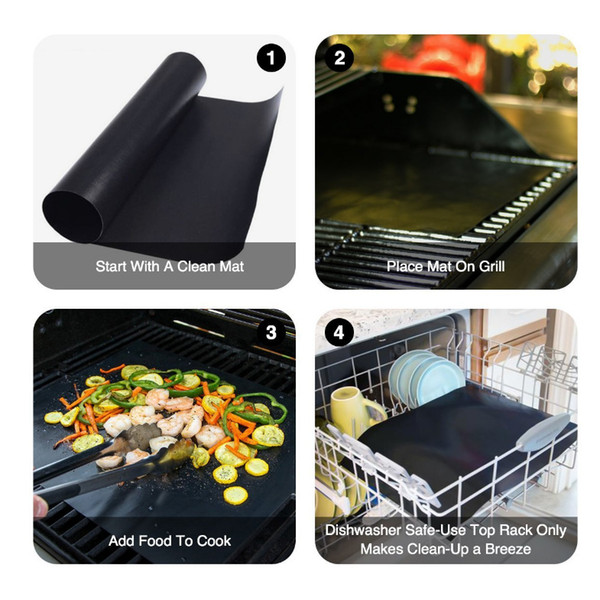 Non-stick BBQ Grill Mat Pad Durable 33*40CM Gas Barbecue Grill Mat Pad Reusable Teflon Picnic Outdoor Cooking Grill Baking Mats Pad