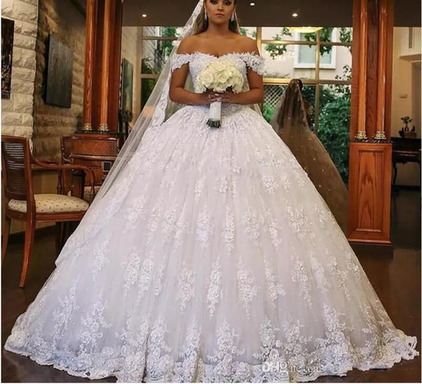 2018 Lace Ball Gown Dubai Wedding Dresses Sweetheart Off Shoulder ...