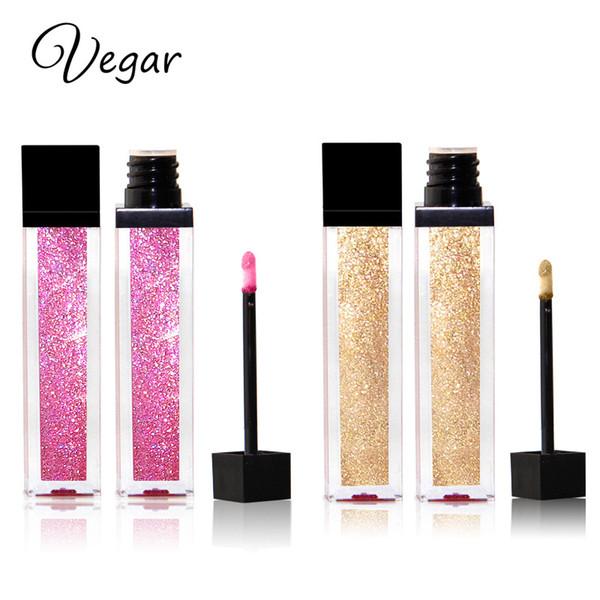 Vegar Brand Metal Lápiz labial líquido 11 colores Maquillaje a prueba de agua Metálico Brillo de labios Brillo de brillo de brillo de brillo duradero