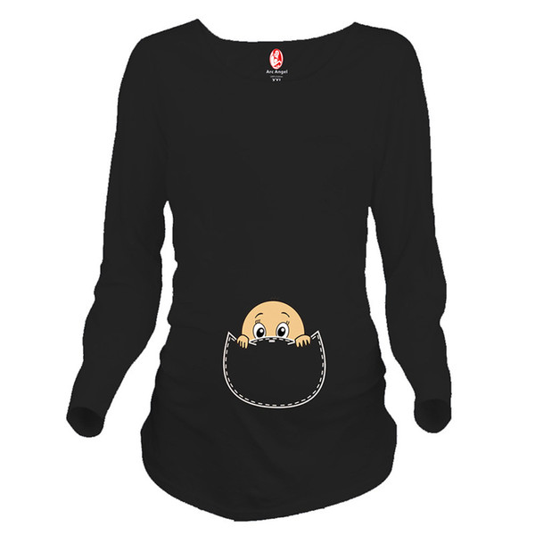 7af3bee6c9681 Hot pregnancy shirts long sleeve pregnant woman tops funny maternity t  shirts with baby peeking out