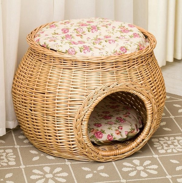 M Size Handmade Natural Color Wicker Basket Cat Bed Cave Dog House Pet Furniture Rattan Home Perfect Kitten Gift with Cushions Mats Free