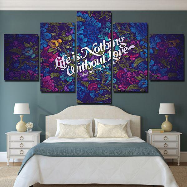 5 Pz Life Love Quote HD Stampe Su Tela Stampata Pitture Murali Pittura Per Soggiorno Wall Art No Frame