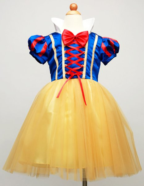 Little Girls Princess Snow White Dress up Costume Children Puff Sleeve Prom Cosplay Fancy Dress with Cape and Headband