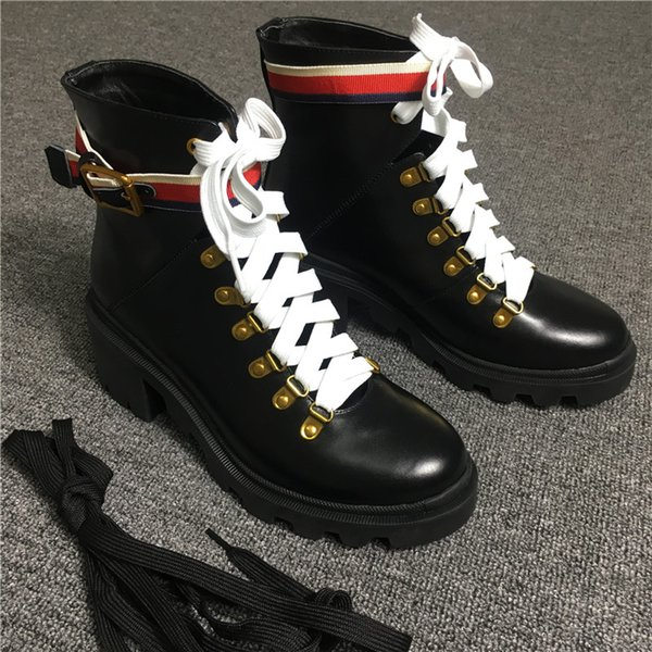 Wholesale 2018 hot ladies luxury designer boots Leather ankle boot with Sylvie Web black buckle belt rubber sole fashion comfortable boots